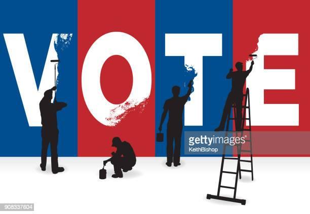 ilustrações, clipart, desenhos animados e ícones de voto, eleição presidencial, gráfico do conceito de política - estereótipo de classe trabalhadora