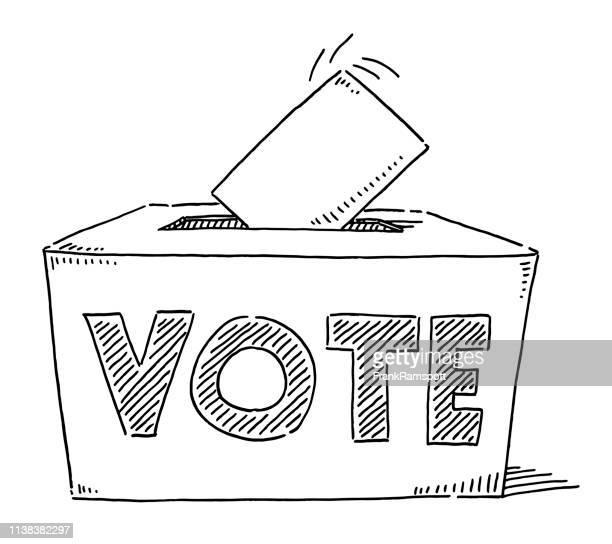 vote text on ballot box drawing - voting ballot stock illustrations