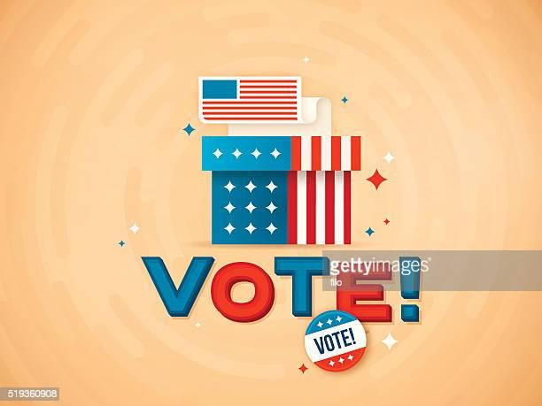 ilustraciones, imágenes clip art, dibujos animados e iconos de stock de ¡votar! - urna de voto
