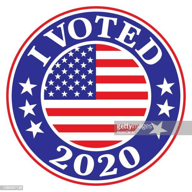 i voted 2020 label - royal blue stock illustrations