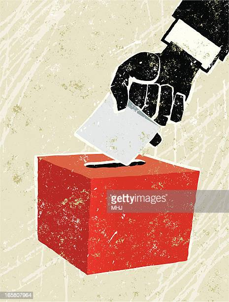 voting at the ballot box - silk screen stock illustrations