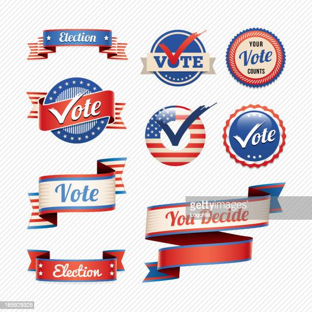 voting badges and banners - voting stock illustrations