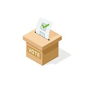 Voting box isometric vector with paper sheet of elected checkmark