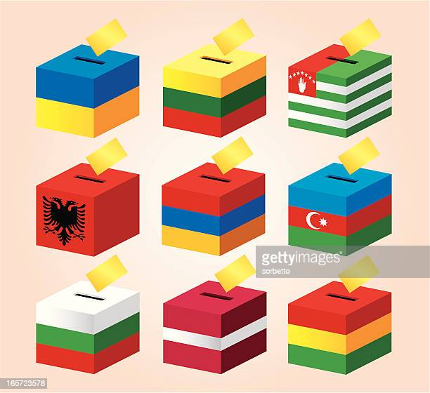 voting boxes with national flag - armenian flag stock illustrations
