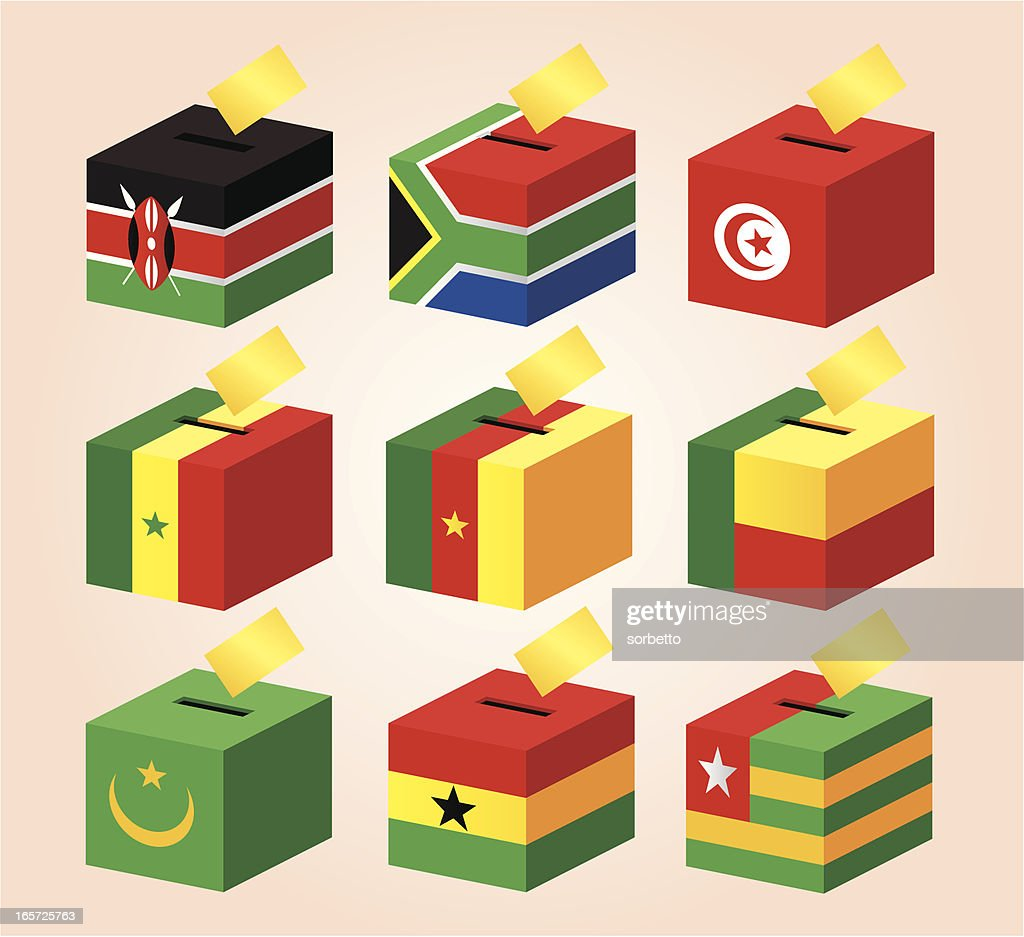 Voting Boxes with National Flag : Vector Art