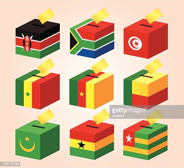 voting boxes with national flag - tunisia stock illustrations, clip art, cartoons, & icons