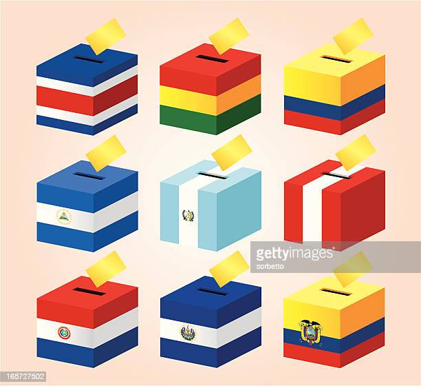 投票箱にの国旗 - エルサルバドル国旗点のイラスト素材/クリップアート素材/マンガ素材/アイコン素材