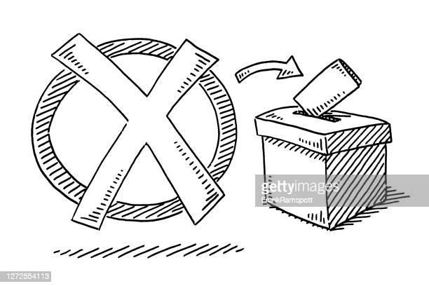voting check mark wahlbox zeichnung - politische wahl stock-grafiken, -clipart, -cartoons und -symbole
