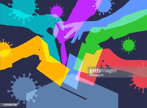 コヴィッド-19パンデミック中の投票 - セントラル・ロンドン点のイラスト素材/クリップアート素材/マンガ素材/アイコン素材