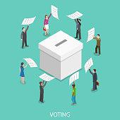 Voting flat isometric vector concept.