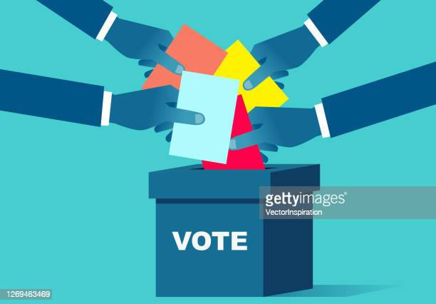 voting, hand holding the ballot paper into the ballot box - ballot box stock illustrations
