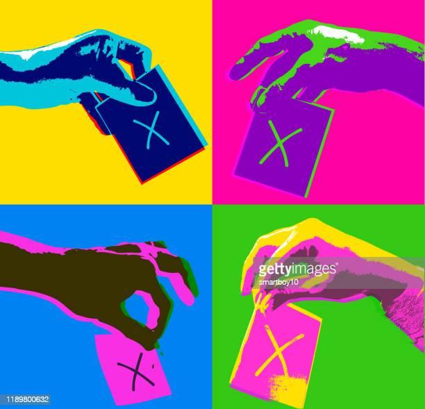 illustrazioni stock, clip art, cartoni animati e icone di tendenza di mani di voto - referendum
