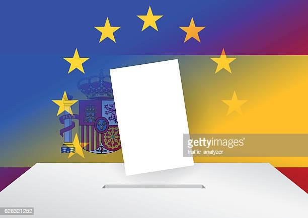 ilustraciones, imágenes clip art, dibujos animados e iconos de stock de voting in spain - urna de voto