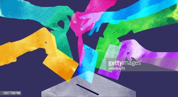 stimmabgabe  - politische wahl stock-grafiken, -clipart, -cartoons und -symbole