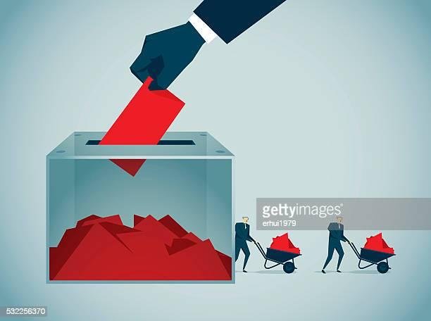 ilustraciones, imágenes clip art, dibujos animados e iconos de stock de de votar - urna de voto