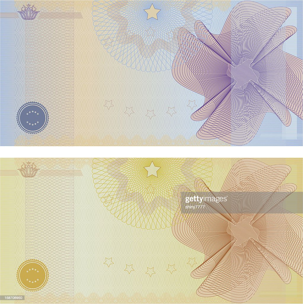 Voucher / Coupon / Gift certificate template (banknote, money, currency, cheque, check)