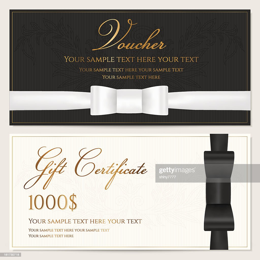 Voucher, Gift certificate / card, Coupon, Invitation template with black bow
