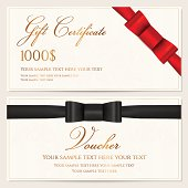 Voucher, Gift certificate / card, Coupon, Invitation template with red bow