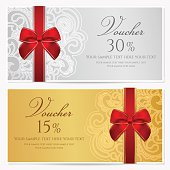 Voucher/ Gift certificate / Coupon template with border, frame, bow (ribbons)