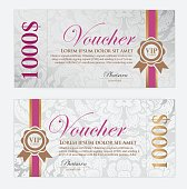 Voucher template with floral and thai art pattern