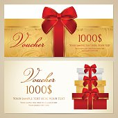 Voucher (Gift certificate, Coupon) template with present (boxes), bow (ribbons)