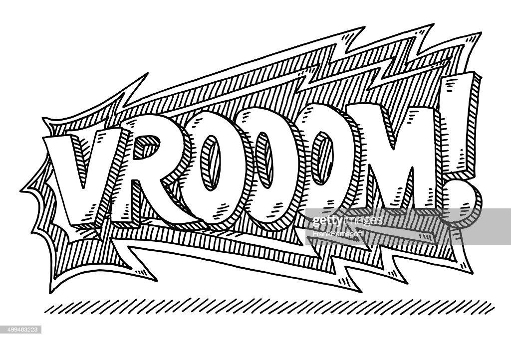 Vrooom! Comic Text Drawing : stock illustration