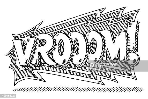 vrooom! comic text drawing - race car stock illustrations, clip art, cartoons, & icons