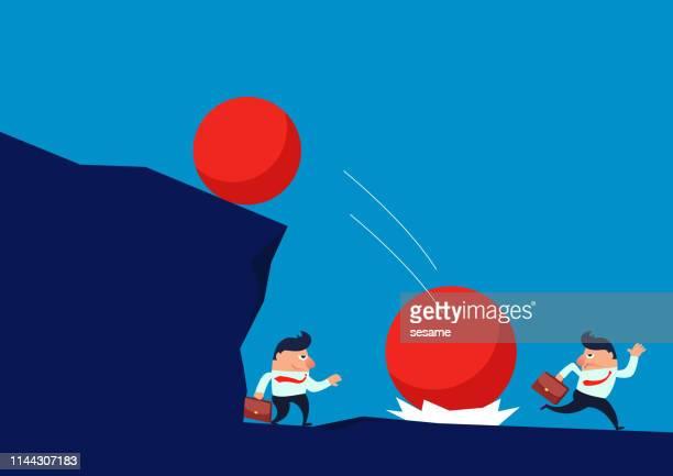 vulnerabilities, smart businessmen use terrain to avoid falling balls - crag stock illustrations, clip art, cartoons, & icons