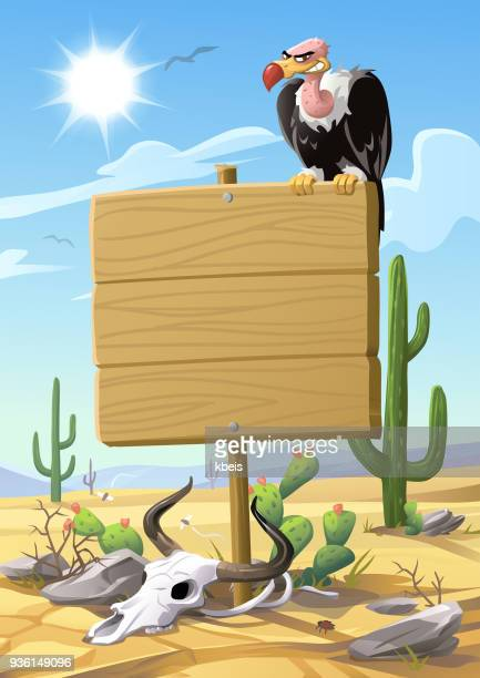 Vulture Sitting On A Sign In The Desert
