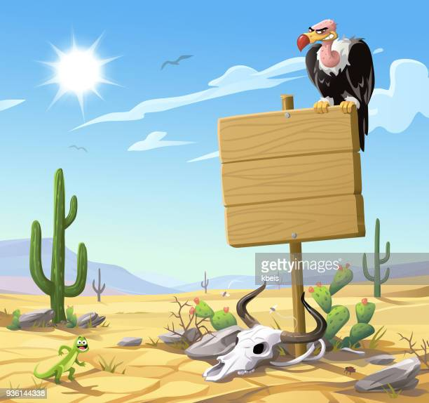 ハゲタカ砂漠での木製看板の上に座って - 乾燥気候点のイラスト素材/クリップアート素材/マンガ素材/アイコン素材