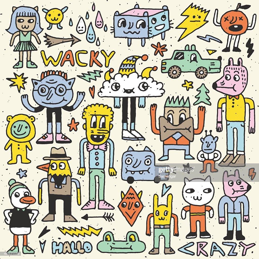 Wacky crazy colorful doodles set 4. Vector illustration. Hand drawn.