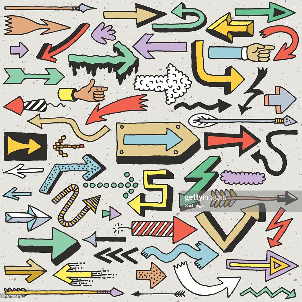 Wacky Doodle Arrows Collection. Vector Hand Drawn Color Illustration.