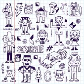 Wacky Funny Fantastic Doodle Characters Set 3.