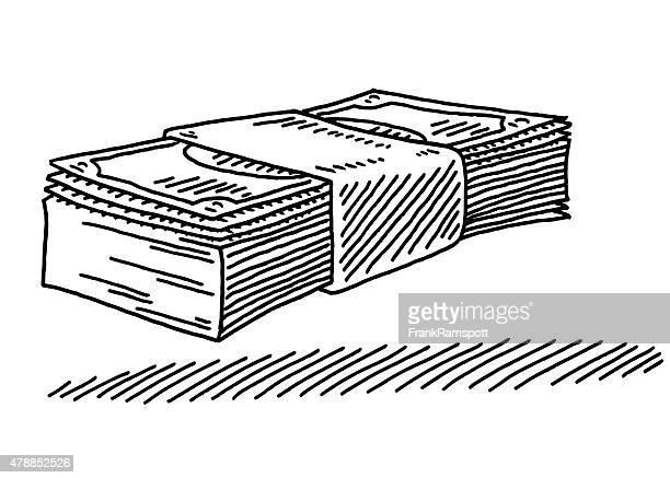 ilustraciones, imágenes clip art, dibujos animados e iconos de stock de bola de billetes de dibujo - fajo de billetes