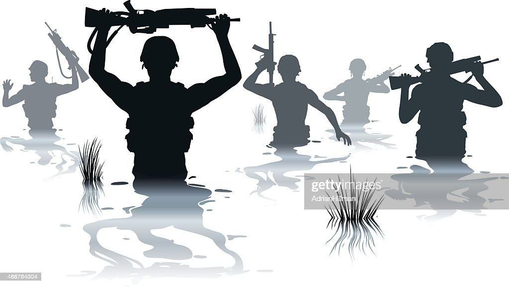 Wading soldiers