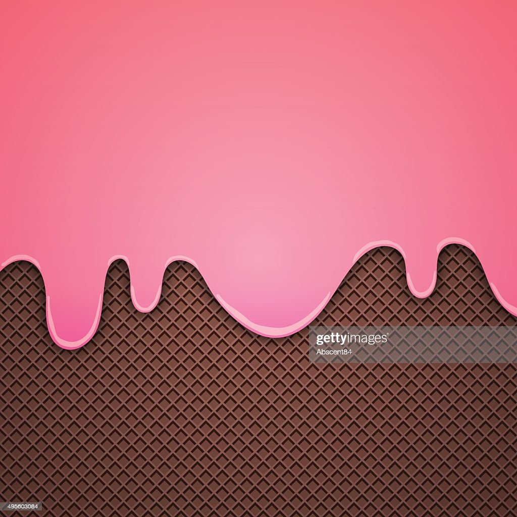 Wafer Background with strawbery cream