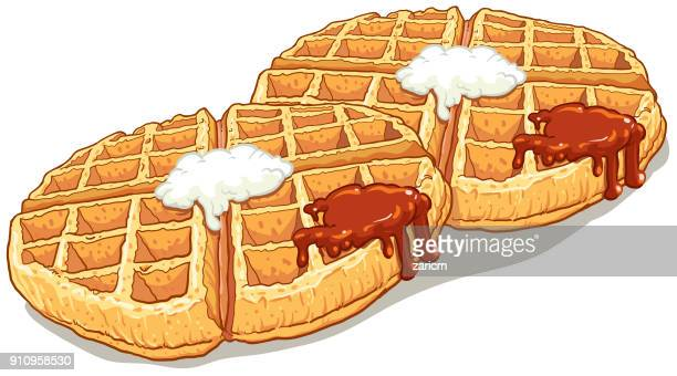 waffle top view vector illustration - breakfast cartoon stock illustrations