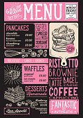 Waffles and crepes menu restaurant, food template.