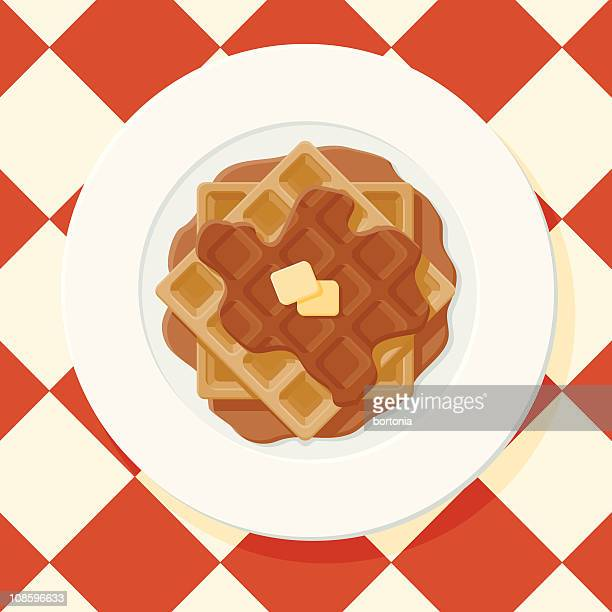 waffles with syrup - waffle stock illustrations, clip art, cartoons, & icons
