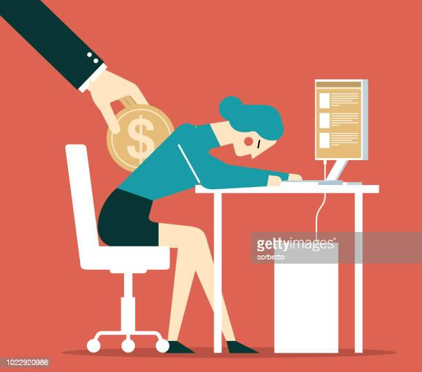 wages to employees - businesswoman - paycheck stock illustrations, clip art, cartoons, & icons