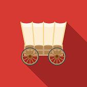 Wagon Flat Design Western Icon