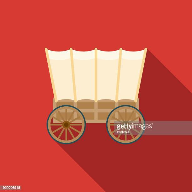 wagon flat design western icon - horsedrawn stock illustrations, clip art, cartoons, & icons