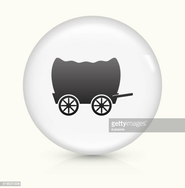 wagon icon on white round vector button - horse cart stock illustrations, clip art, cartoons, & icons
