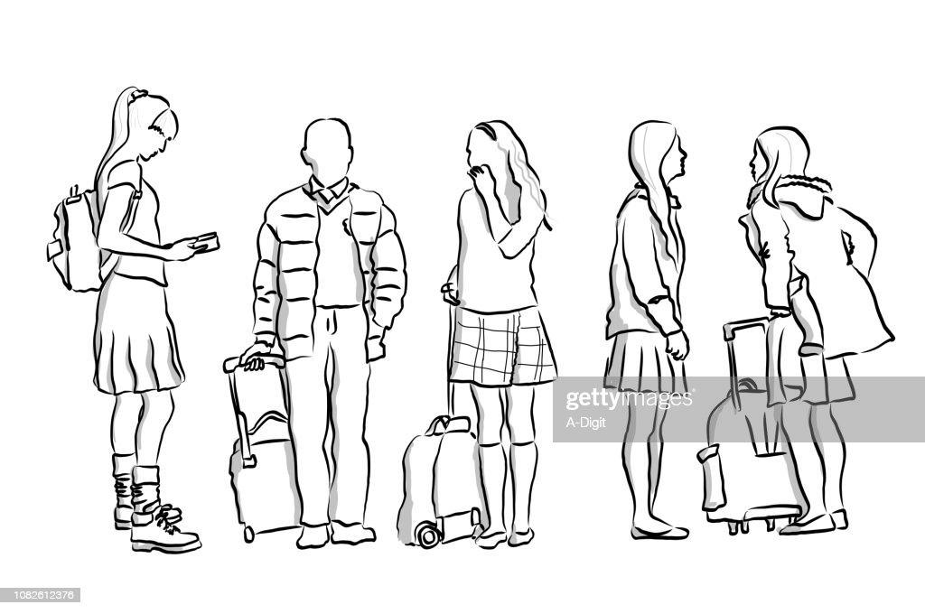 Wait For The Bus School Children : Stock Illustration