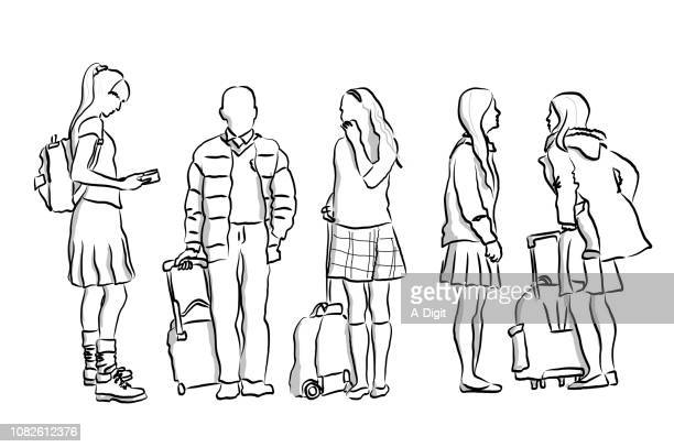 wait for the bus school children - school child stock illustrations, clip art, cartoons, & icons