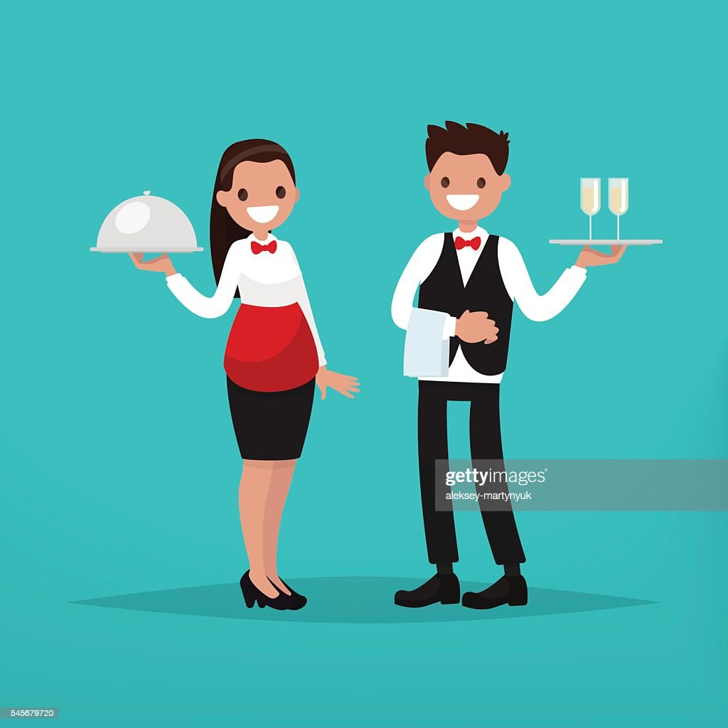 Waiter and waitress restaurant. Vector illustration