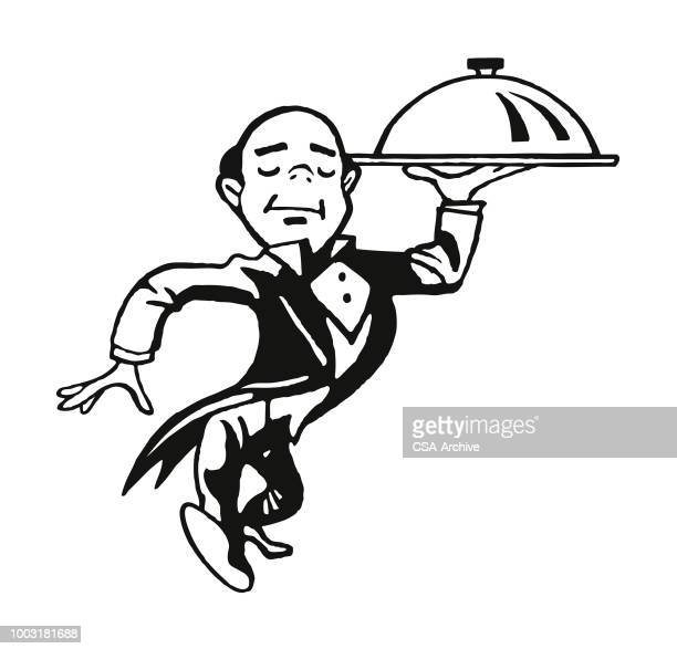 Waiter Carrying a Domed Tray