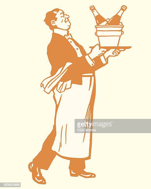 waiter carrying champange on ice - butler stock illustrations, clip art, cartoons, & icons