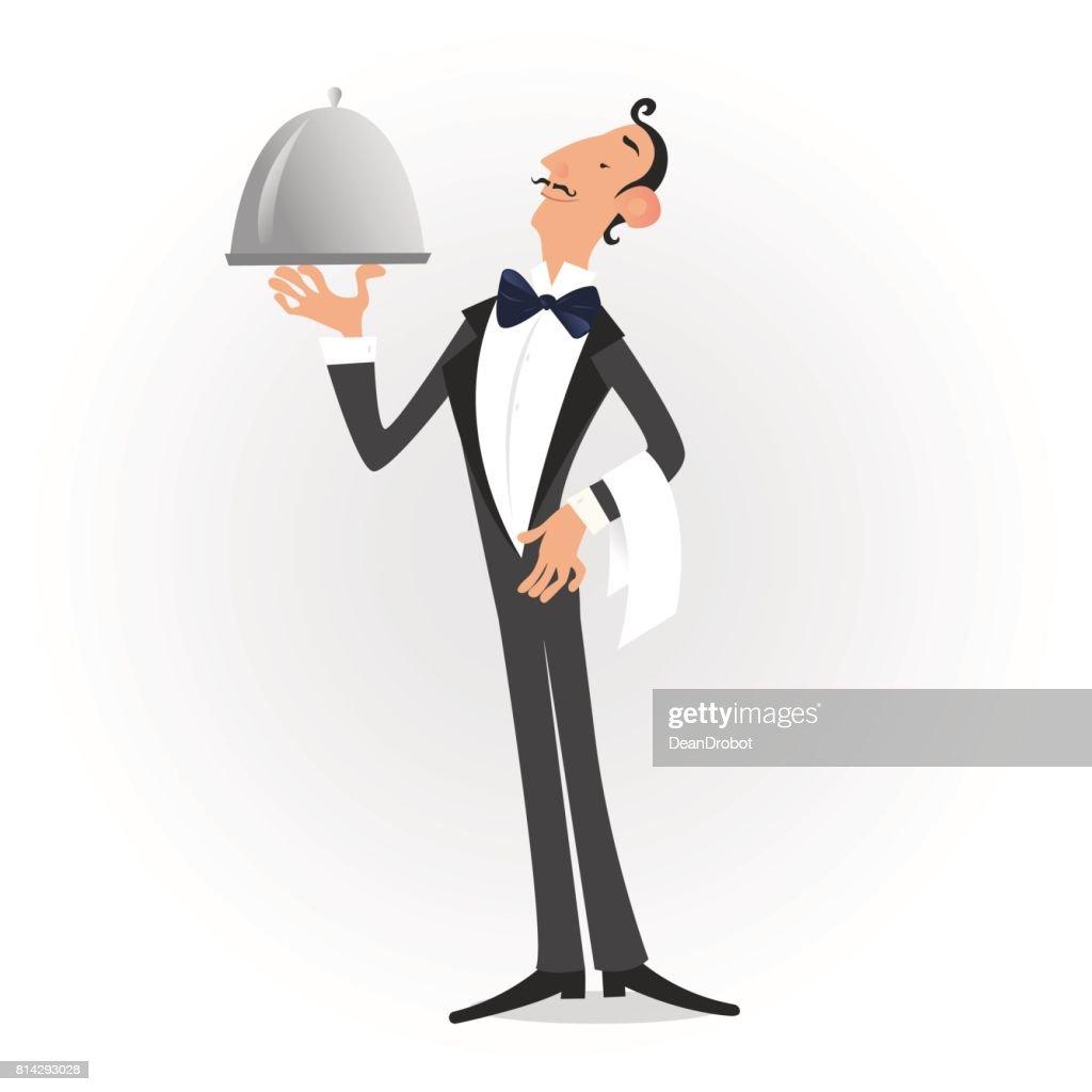 Waiter dressed in tuxedo serving a dish isolated over white. Vector illustrationWaiter dressed in tuxedo serving a dish isolated over white. Vector illustration