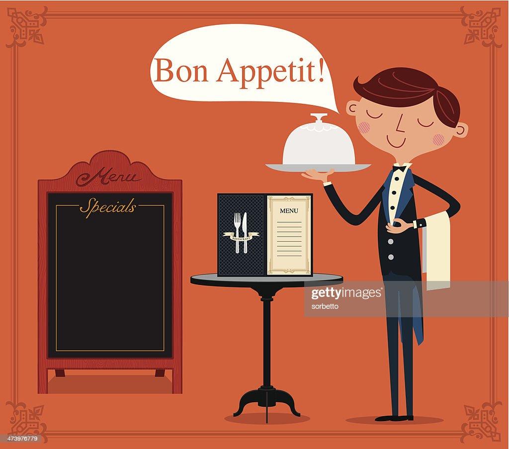 Waiter for fine dining : stock illustration